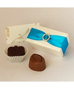 Turquoise Wedding & Party Favours 2 Choc Diamanté